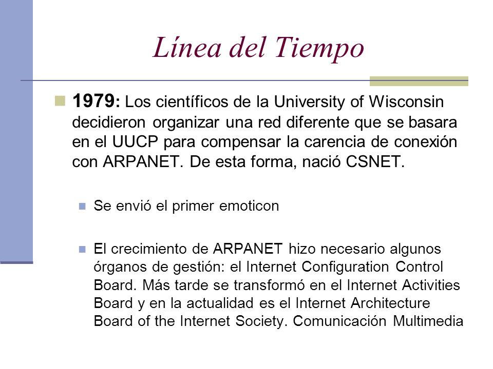 Línea del Tiempo 1979 : Los científicos de la University of Wisconsin decidieron organizar una red diferente que se basara en el UUCP para compensar l