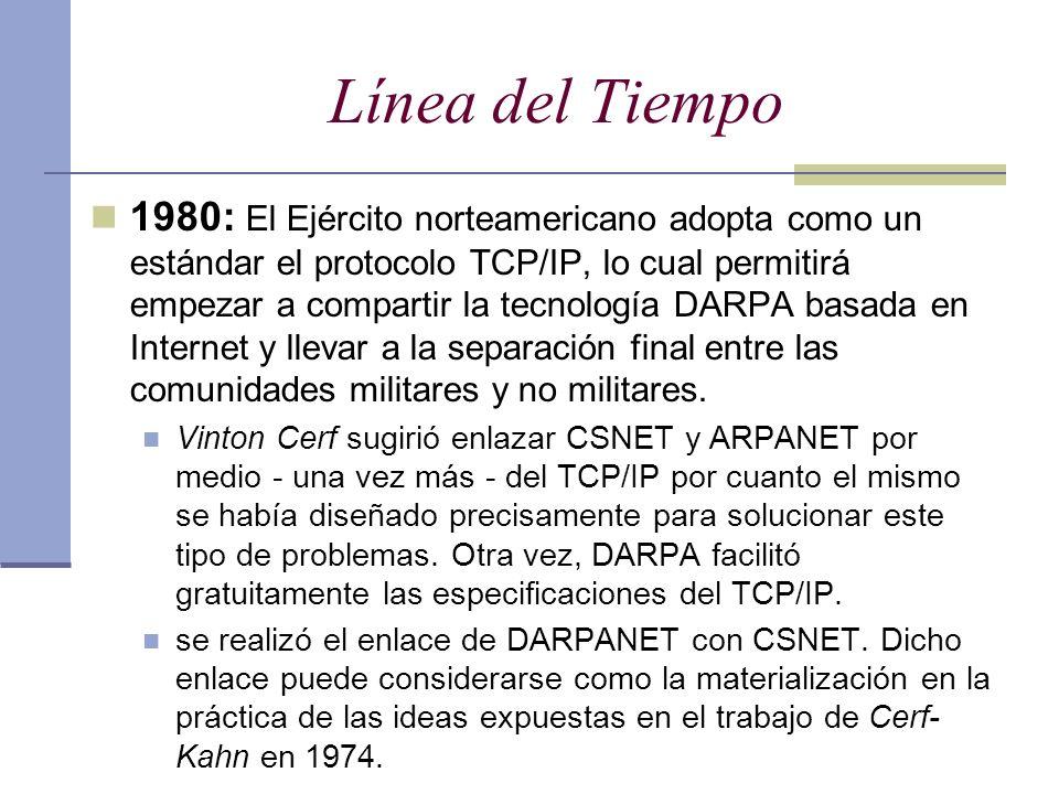 Línea del Tiempo 1980: El Ejército norteamericano adopta como un estándar el protocolo TCP/IP, lo cual permitirá empezar a compartir la tecnología DAR