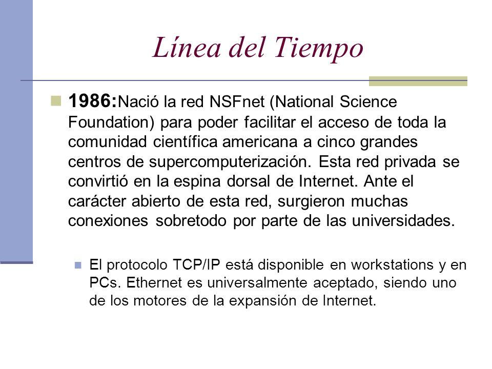 Línea del Tiempo 1986: Nació la red NSFnet (National Science Foundation) para poder facilitar el acceso de toda la comunidad científica americana a ci