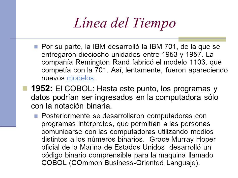Línea del Tiempo Por su parte, la IBM desarrolló la IBM 701, de la que se entregaron dieciocho unidades entre 1953 y 1957. La compañía Remington Rand
