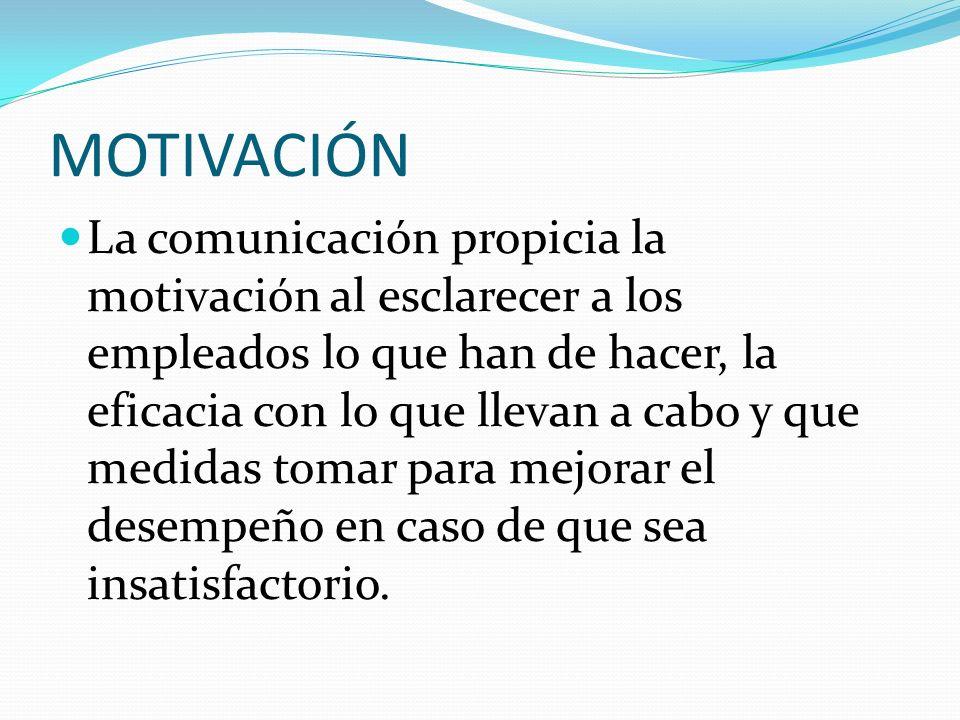 MOTIVACIÓN La comunicación propicia la motivación al esclarecer a los empleados lo que han de hacer, la eficacia con lo que llevan a cabo y que medida