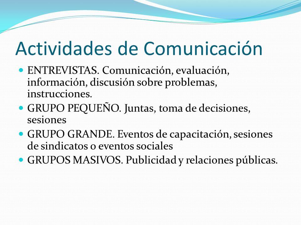Actividades de Comunicación ENTREVISTAS. Comunicación, evaluación, información, discusión sobre problemas, instrucciones. GRUPO PEQUEÑO. Juntas, toma