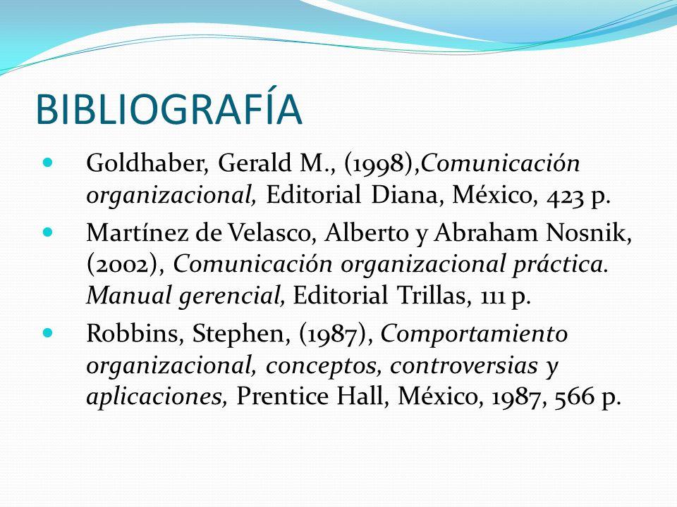 BIBLIOGRAFÍA Goldhaber, Gerald M., (1998),Comunicación organizacional, Editorial Diana, México, 423 p. Martínez de Velasco, Alberto y Abraham Nosnik,