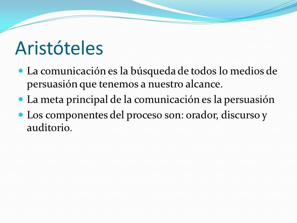 Aristóteles La comunicación es la búsqueda de todos lo medios de persuasión que tenemos a nuestro alcance. La meta principal de la comunicación es la