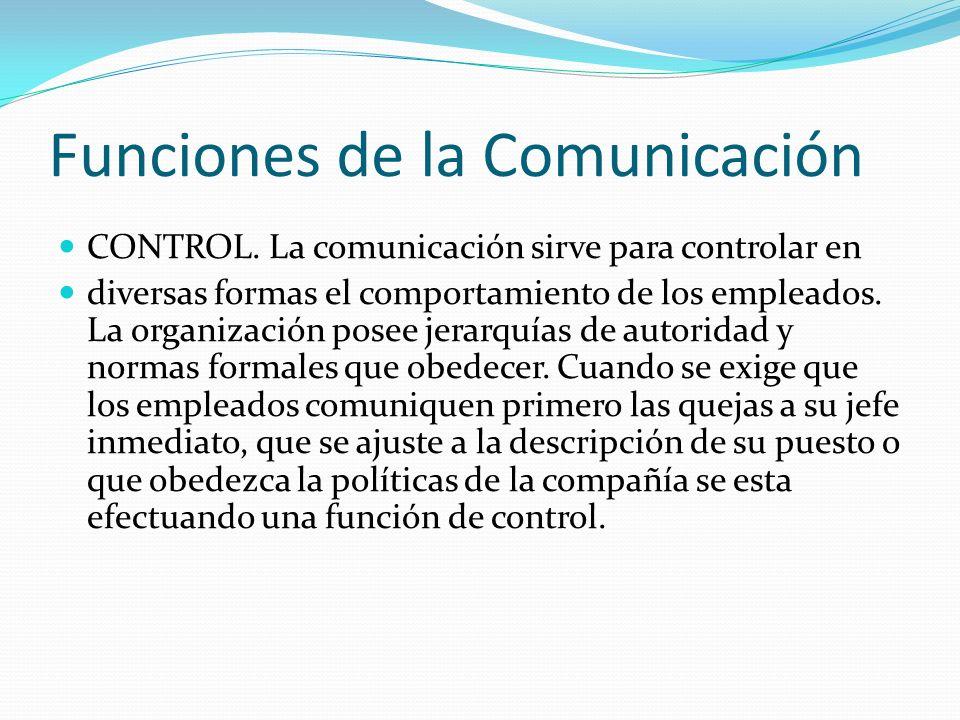 Funciones de la Comunicación CONTROL. La comunicación sirve para controlar en diversas formas el comportamiento de los empleados. La organización pose