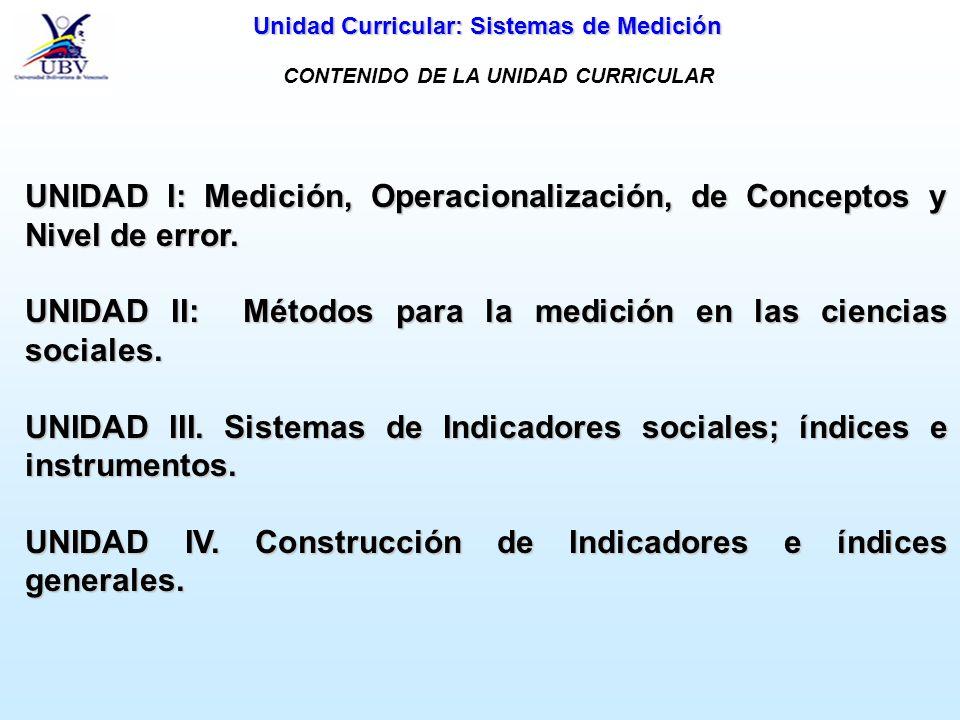 Unidad Curricular: Sistemas de Medición UNIDAD I: Medición, Operacionalización, de Conceptos y Nivel de error. UNIDAD II: Métodos para la medición en