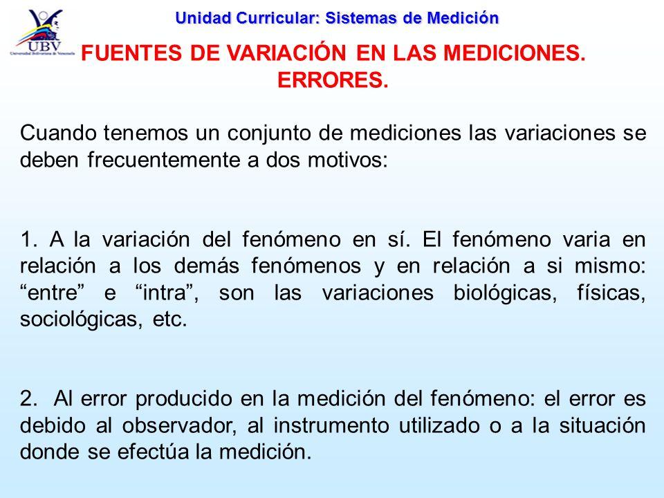 Unidad Curricular: Sistemas de Medición FUENTES DE VARIACIÓN EN LAS MEDICIONES. ERRORES. Cuando tenemos un conjunto de mediciones las variaciones se d