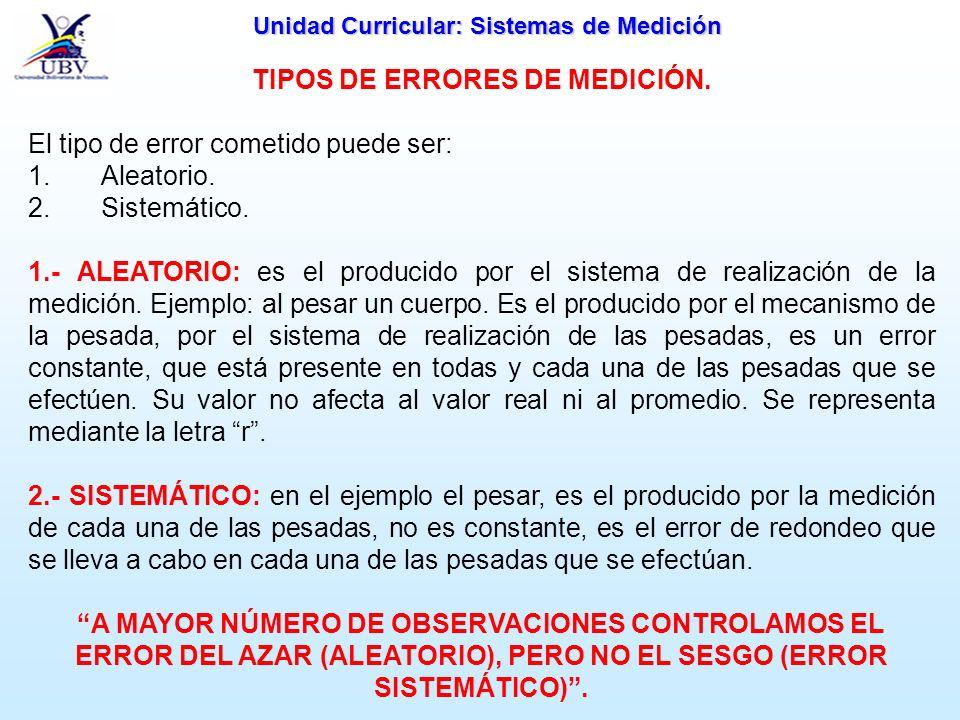 Unidad Curricular: Sistemas de Medición TIPOS DE ERRORES DE MEDICIÓN. El tipo de error cometido puede ser: 1. Aleatorio. 2. Sistemático. 1.- ALEATORIO