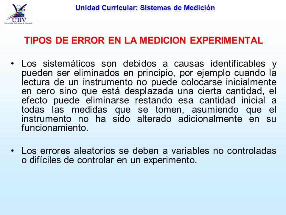 Unidad Curricular: Sistemas de Medición TIPOS DE ERROR EN LA MEDICION EXPERIMENTAL Los sistemáticos son debidos a causas identificables y pueden ser e
