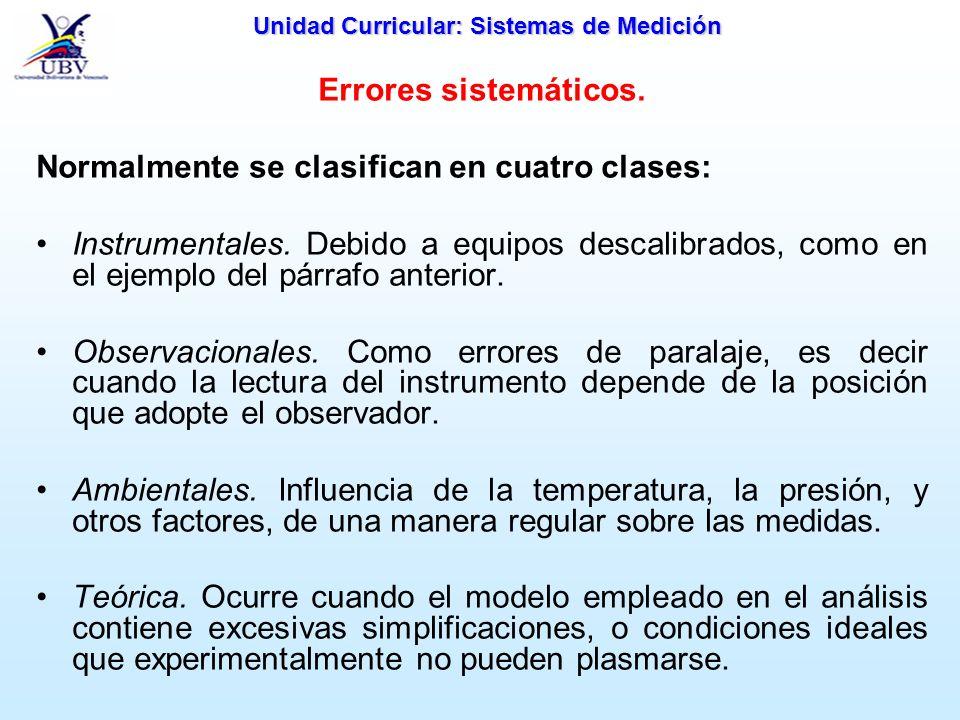 Unidad Curricular: Sistemas de Medición Errores sistemáticos. Normalmente se clasifican en cuatro clases: Instrumentales. Debido a equipos descalibrad