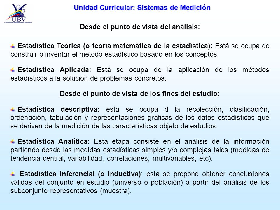 Unidad Curricular: Sistemas de Medición CLASIFICACIÓN DE MEDIDAS DE RESULTADOS: 1.