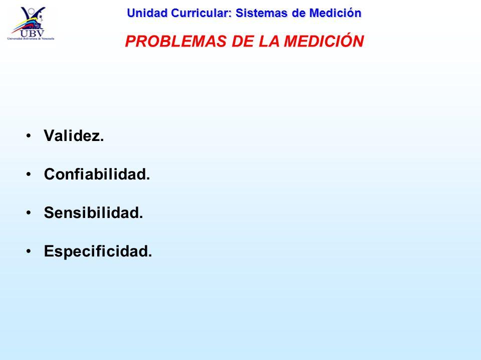 Unidad Curricular: Sistemas de Medición Validez. Confiabilidad. Sensibilidad. Especificidad. PROBLEMAS DE LA MEDICIÓN