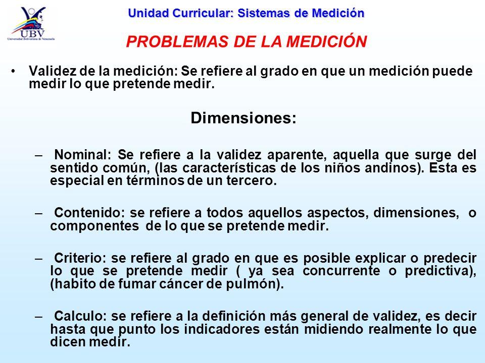 Unidad Curricular: Sistemas de Medición Confiabilidad de la medición: Se refiere a las posibilidades de reproducción o a la constancia de una medición.