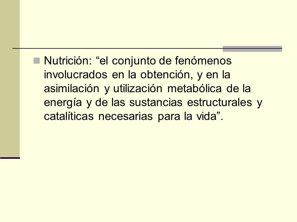 Nutrición: el conjunto de fenómenos involucrados en la obtención, y en la asimilación y utilización metabólica de la energía y de las sustancias estru