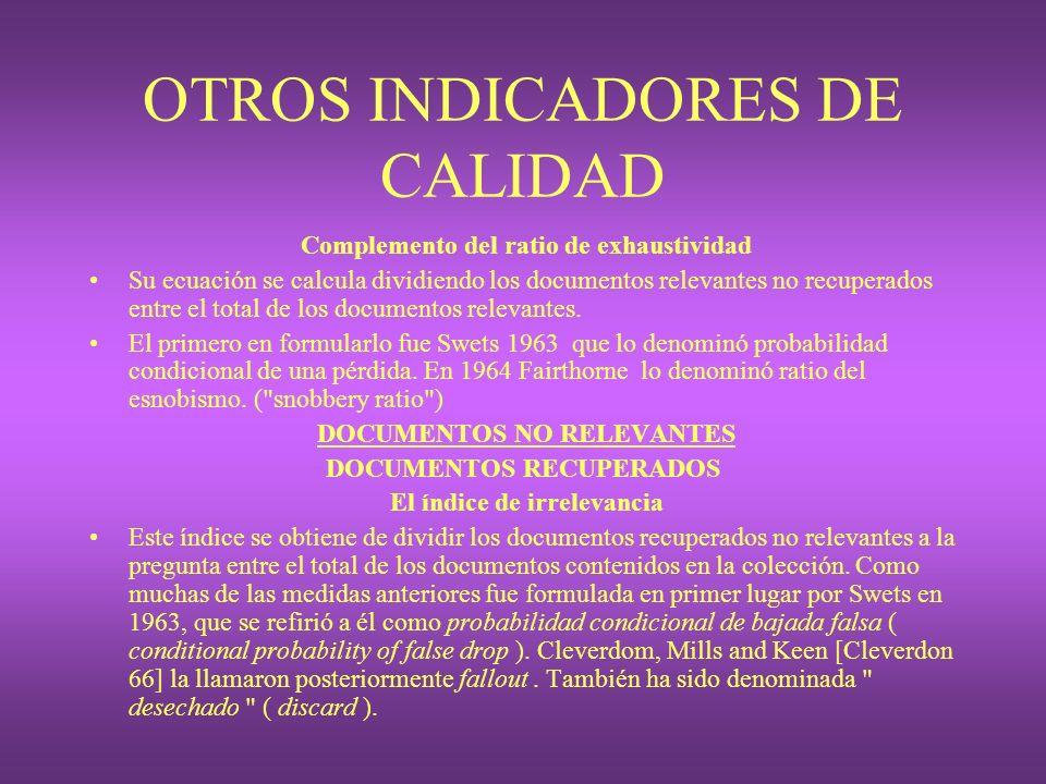 OTROS INDICADORES DE CALIDAD Complemento del ratio de exhaustividad Su ecuación se calcula dividiendo los documentos relevantes no recuperados entre e