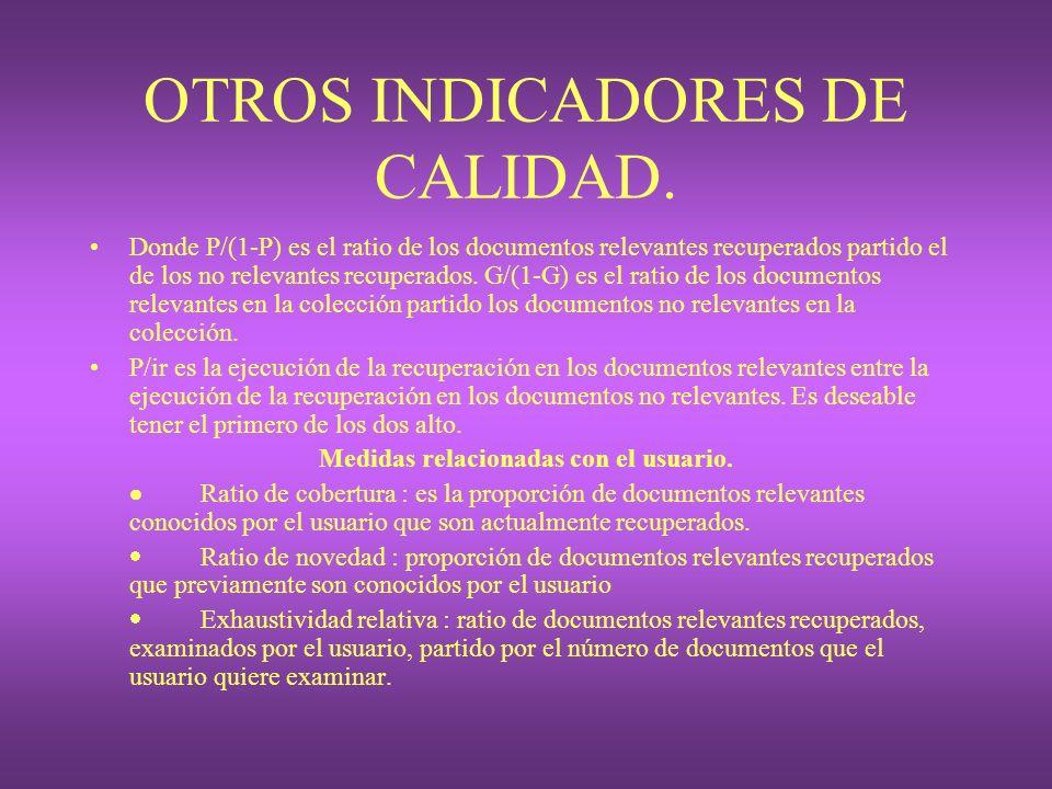 OTROS INDICADORES DE CALIDAD. Donde P/(1-P) es el ratio de los documentos relevantes recuperados partido el de los no relevantes recuperados. G/(1-G)