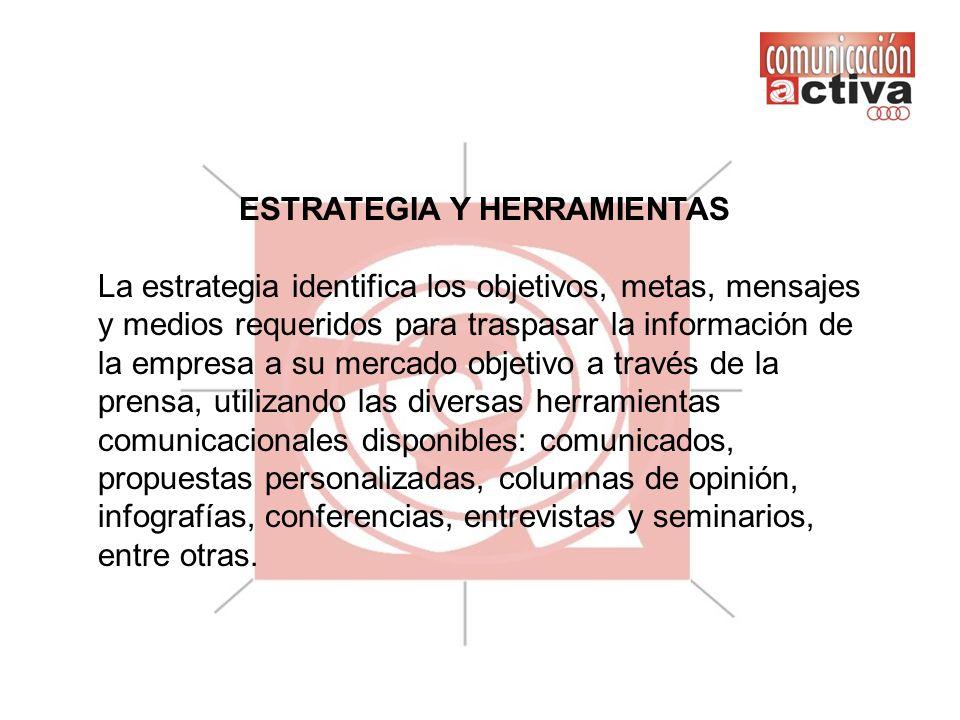 ESTRATEGIA Y HERRAMIENTAS La estrategia identifica los objetivos, metas, mensajes y medios requeridos para traspasar la información de la empresa a su