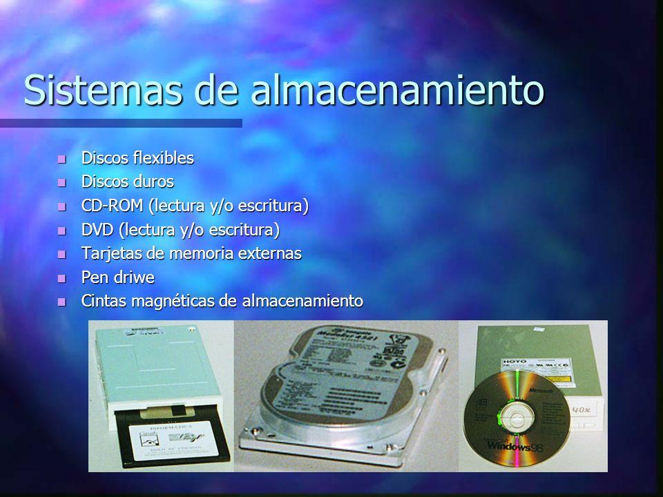 Sistemas de almacenamiento Discos flexibles Discos flexibles Discos duros Discos duros CD-ROM (lectura y/o escritura) CD-ROM (lectura y/o escritura) DVD (lectura y/o escritura) DVD (lectura y/o escritura) Tarjetas de memoria externas Tarjetas de memoria externas Pen driwe Pen driwe Cintas magnéticas de almacenamiento Cintas magnéticas de almacenamiento