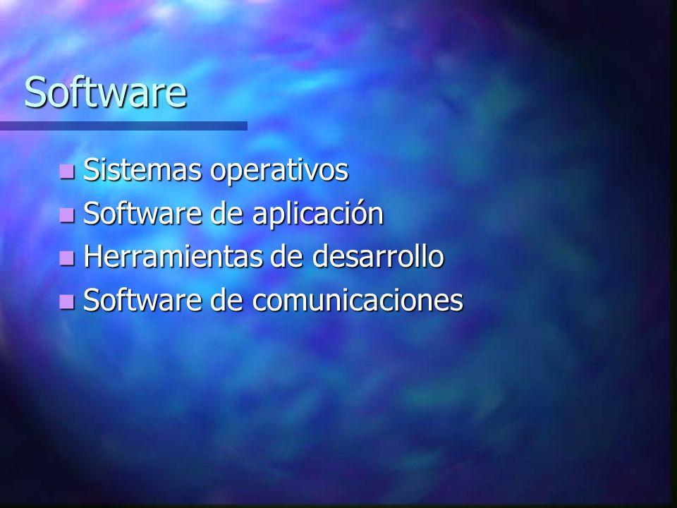 Software Sistemas operativos Sistemas operativos Software de aplicación Software de aplicación Herramientas de desarrollo Herramientas de desarrollo Software de comunicaciones Software de comunicaciones