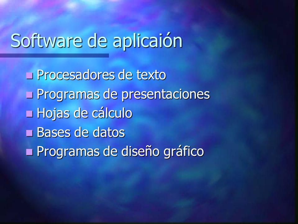 Software de aplicaión Procesadores de texto Procesadores de texto Programas de presentaciones Programas de presentaciones Hojas de cálculo Hojas de cálculo Bases de datos Bases de datos Programas de diseño gráfico Programas de diseño gráfico