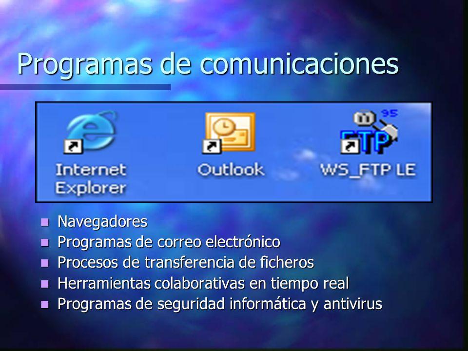 Programas de comunicaciones Navegadores Programas de correo electrónico Procesos de transferencia de ficheros Herramientas colaborativas en tiempo real Programas de seguridad informática y antivirus