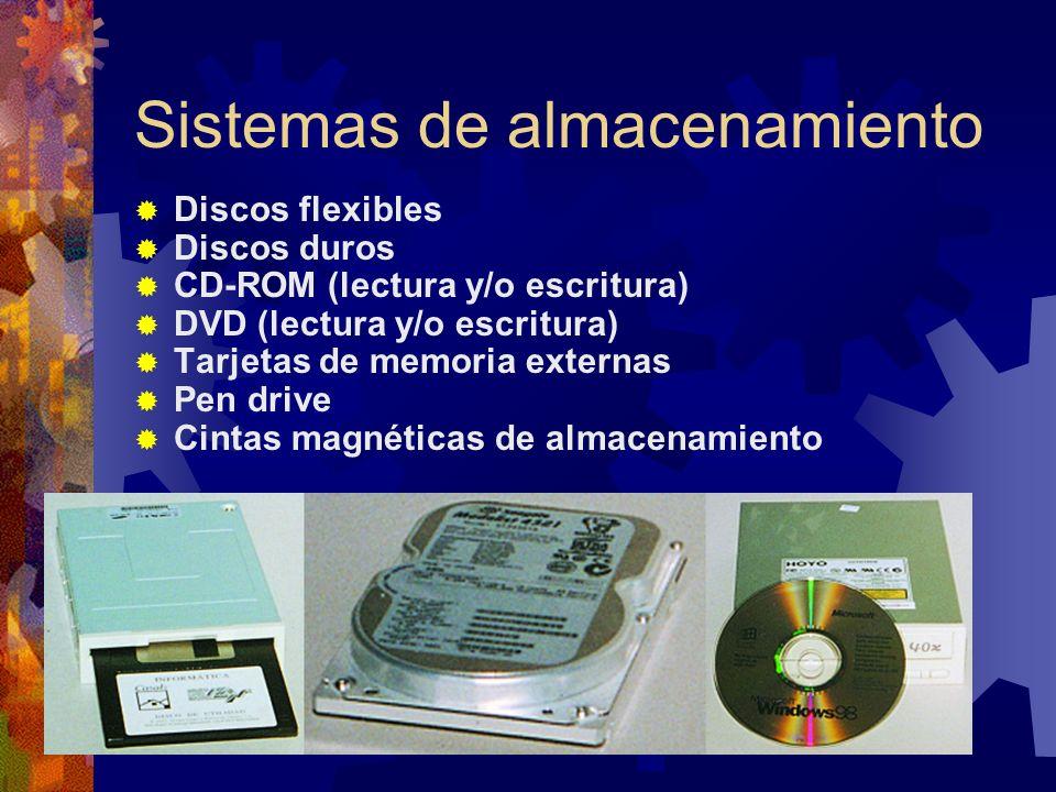 Sistemas de almacenamiento Discos flexibles Discos duros CD-ROM (lectura y/o escritura) DVD (lectura y/o escritura) Tarjetas de memoria externas Pen drive Cintas magnéticas de almacenamiento