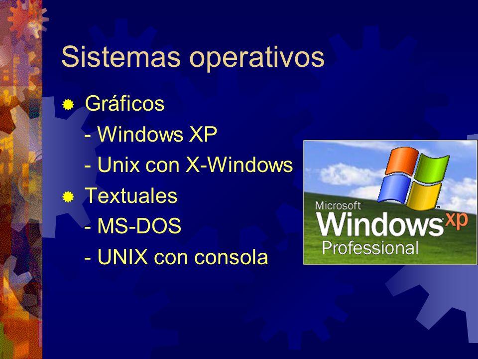 Sistemas operativos Gráficos - Windows XP - Unix con X-Windows Textuales - MS-DOS - UNIX con consola