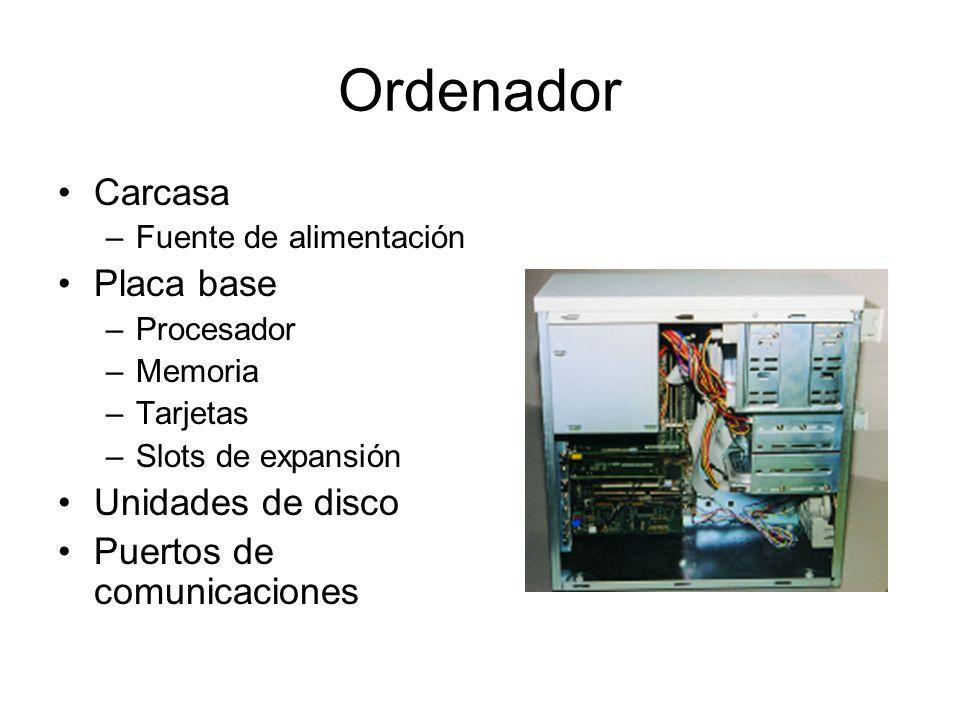 Ordenador Carcasa –Fuente de alimentación Placa base –Procesador –Memoria –Tarjetas –Slots de expansión Unidades de disco Puertos de comunicaciones