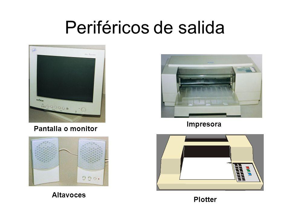 Periféricos de salida Pantalla o monitor Altavoces Impresora Plotter