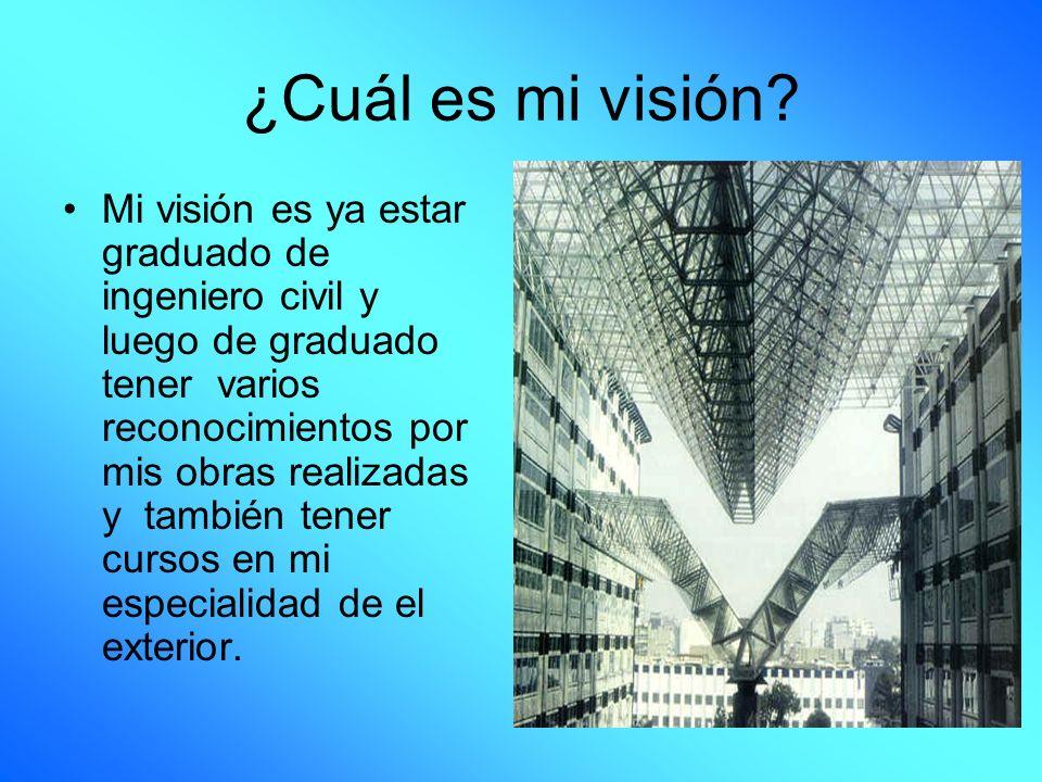 ¿Cuál es mi visión? Mi visión es ya estar graduado de ingeniero civil y luego de graduado tener varios reconocimientos por mis obras realizadas y tamb