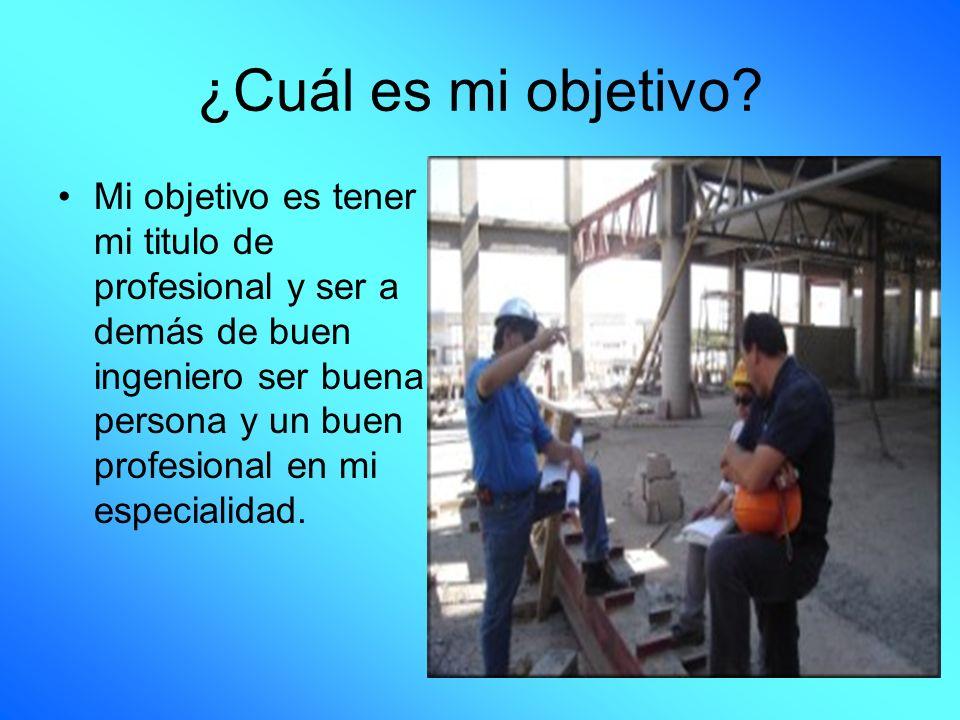 ¿Cuál es mi objetivo? Mi objetivo es tener mi titulo de profesional y ser a demás de buen ingeniero ser buena persona y un buen profesional en mi espe