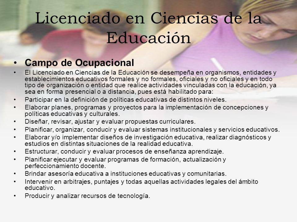 Licenciado en Ciencias de la Educación Campo Ocupacional Desarrollo y producción de materiales educativos apoyados en la tecnología.