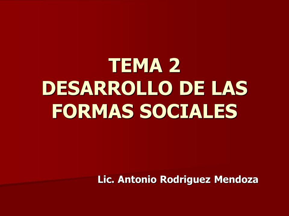 TEMA 2 DESARROLLO DE LAS FORMAS SOCIALES Lic. Antonio Rodriguez Mendoza