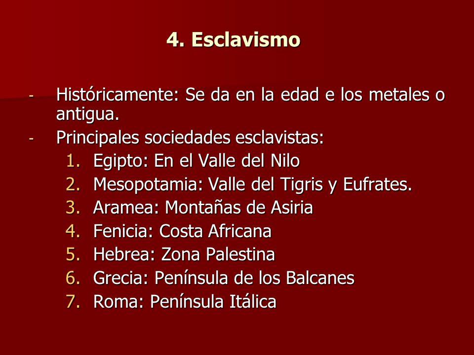 4. Esclavismo - Históricamente: Se da en la edad e los metales o antigua. - Principales sociedades esclavistas: 1.Egipto: En el Valle del Nilo 2.Mesop