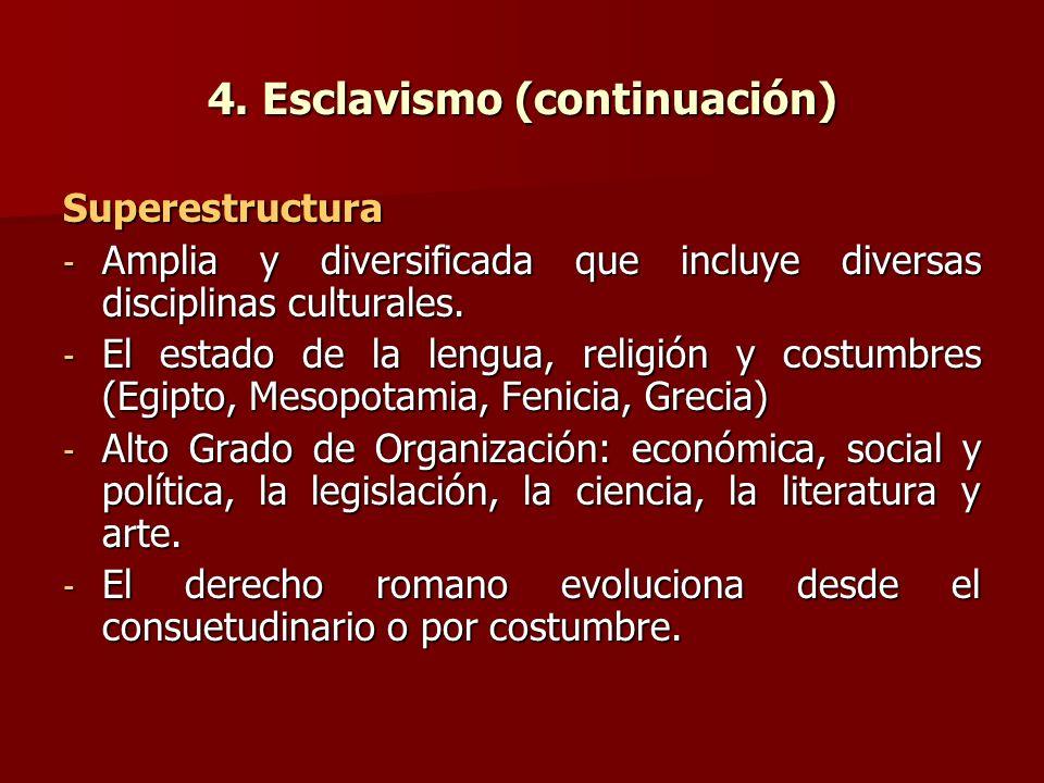 4. Esclavismo (continuación) Superestructura - Amplia y diversificada que incluye diversas disciplinas culturales. - El estado de la lengua, religión
