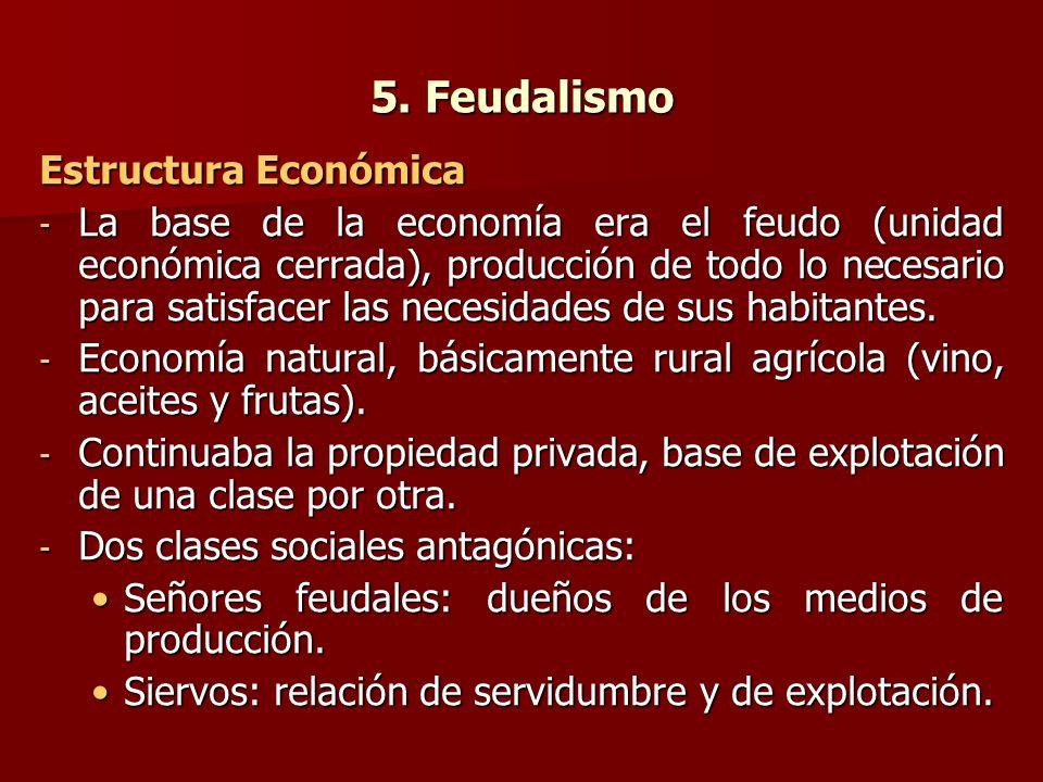 5. Feudalismo Estructura Económica - La base de la economía era el feudo (unidad económica cerrada), producción de todo lo necesario para satisfacer l