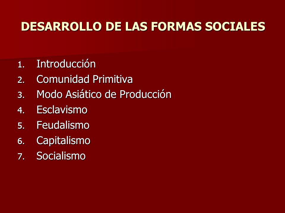 DESARROLLO DE LAS FORMAS SOCIALES 1. Introducción 2. Comunidad Primitiva 3. Modo Asiático de Producción 4. Esclavismo 5. Feudalismo 6. Capitalismo 7.