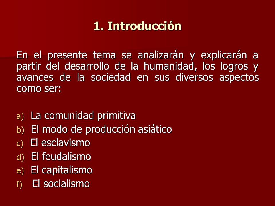 1. Introducción En el presente tema se analizarán y explicarán a partir del desarrollo de la humanidad, los logros y avances de la sociedad en sus div