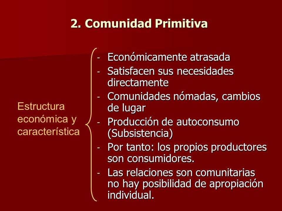 2. Comunidad Primitiva - Económicamente atrasada - Satisfacen sus necesidades directamente - Comunidades nómadas, cambios de lugar - Producción de aut