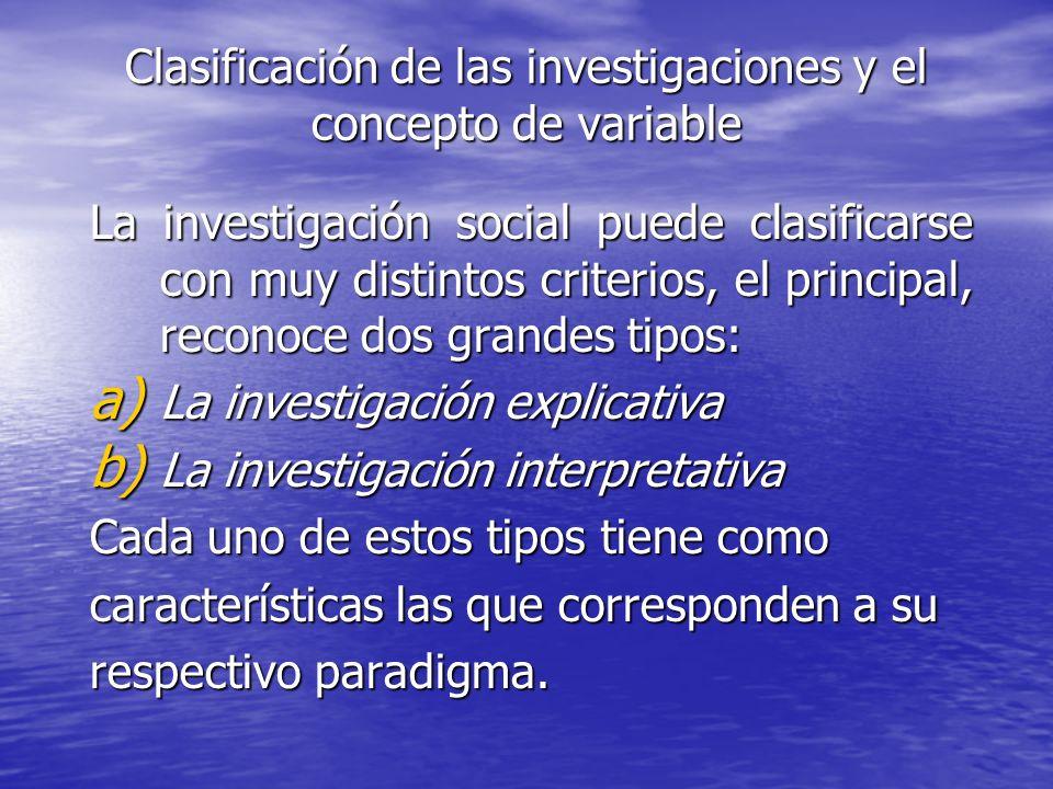 Clasificación de las investigaciones y el concepto de variable La investigación social puede clasificarse con muy distintos criterios, el principal, r