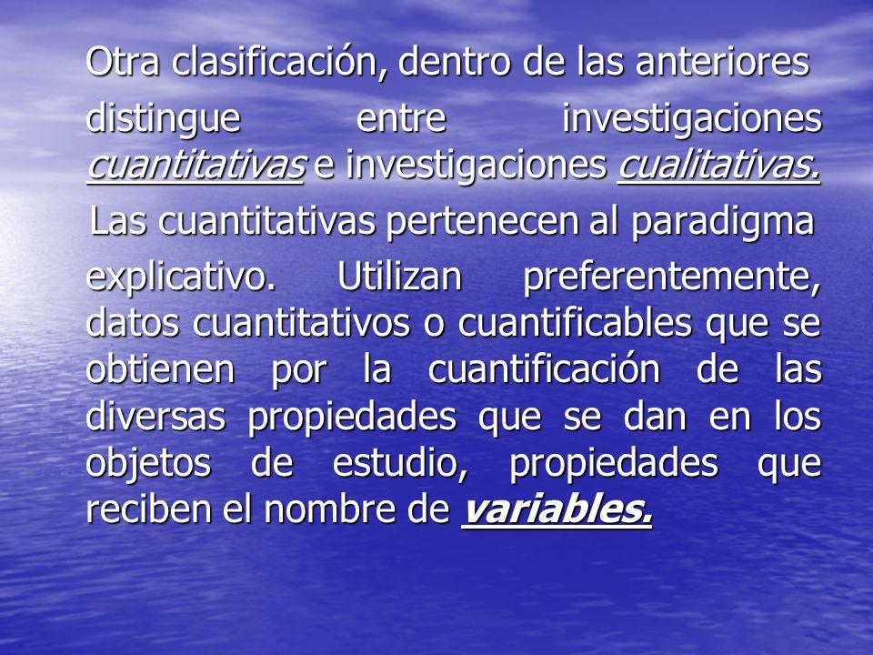 Otra clasificación, dentro de las anteriores distingue entre investigaciones cuantitativas e investigaciones cualitativas. Las cuantitativas pertenece