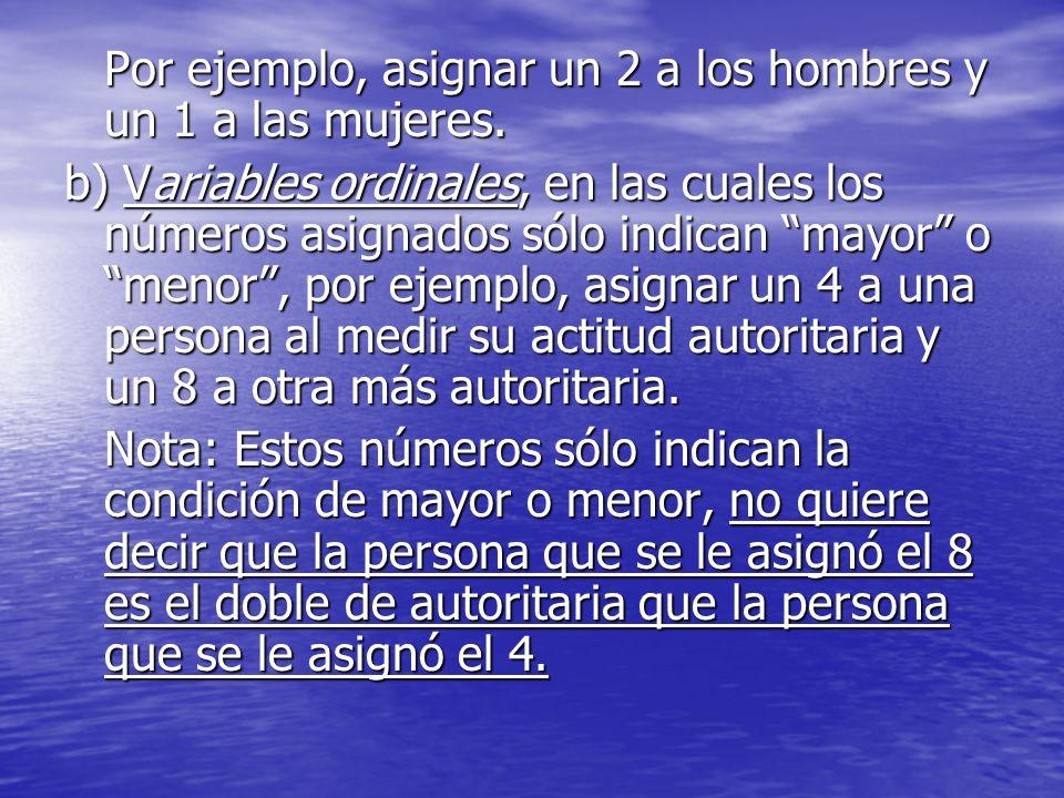 Por ejemplo, asignar un 2 a los hombres y un 1 a las mujeres. b) Variables ordinales, en las cuales los números asignados sólo indican mayor o menor,