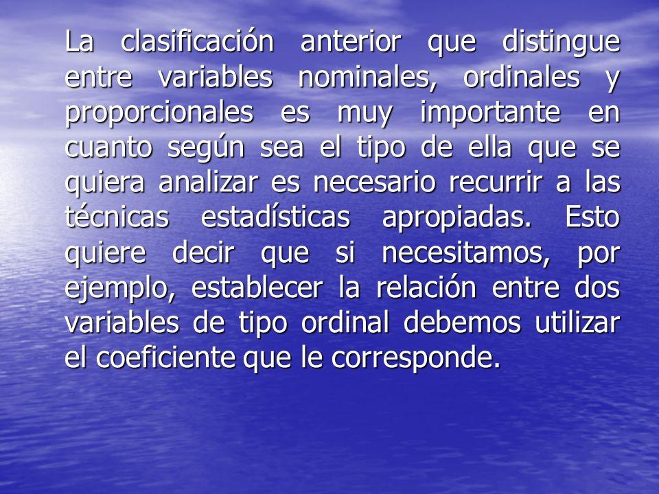 La clasificación anterior que distingue entre variables nominales, ordinales y proporcionales es muy importante en cuanto según sea el tipo de ella qu
