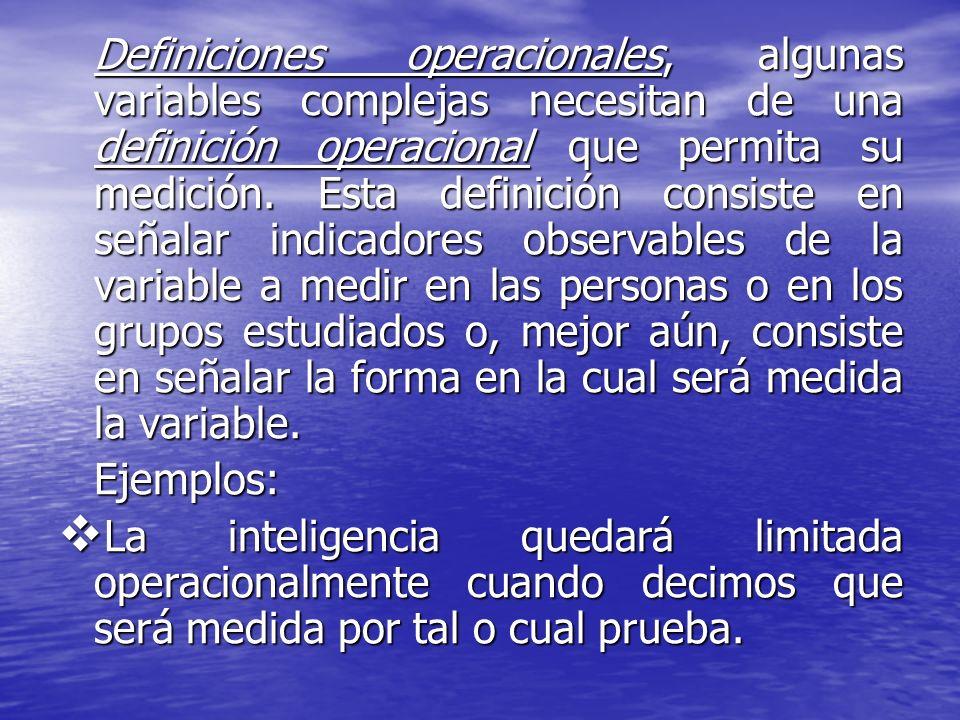 Definiciones operacionales, algunas variables complejas necesitan de una definición operacional que permita su medición. Esta definición consiste en s