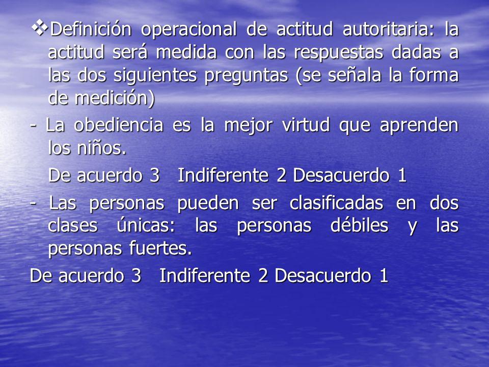 Definición operacional de actitud autoritaria: la actitud será medida con las respuestas dadas a las dos siguientes preguntas (se señala la forma de m