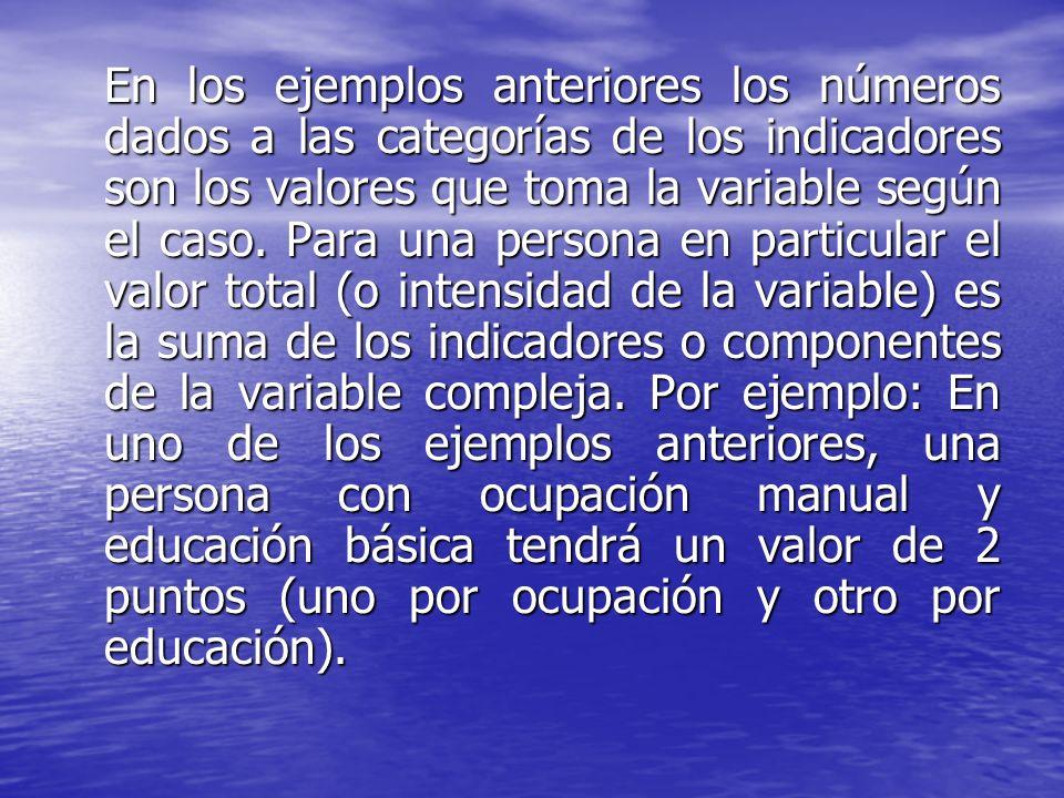 En los ejemplos anteriores los números dados a las categorías de los indicadores son los valores que toma la variable según el caso. Para una persona