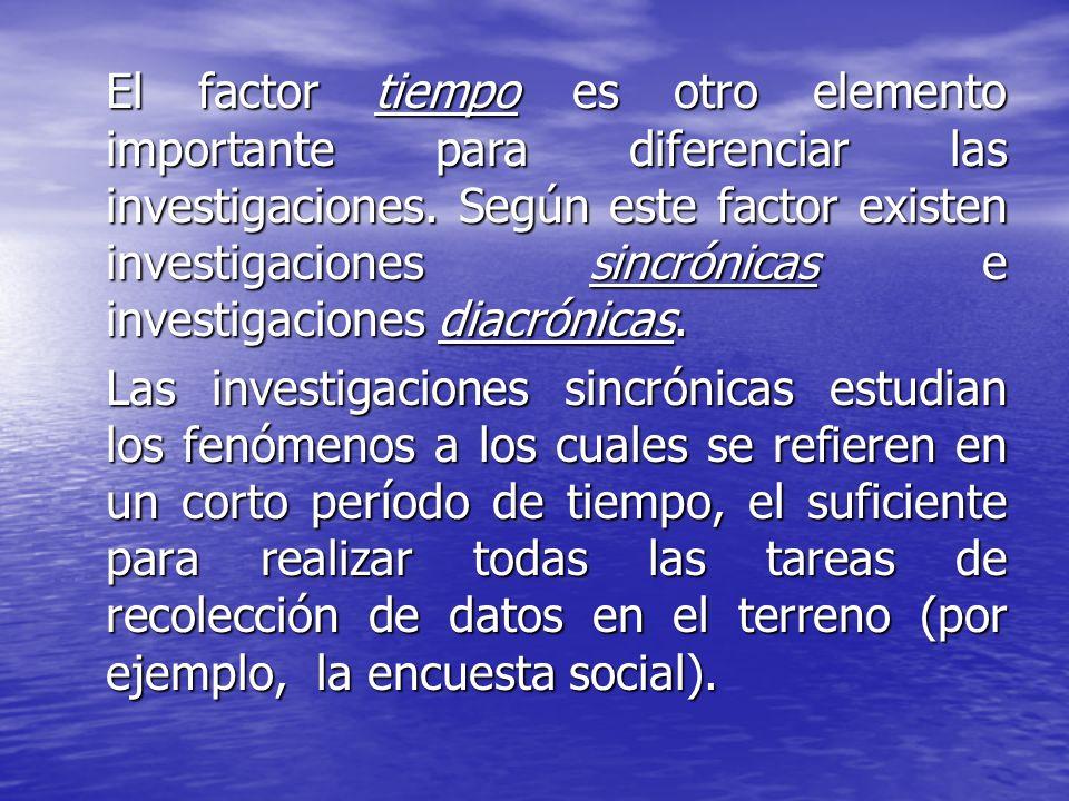 El factor tiempo es otro elemento importante para diferenciar las investigaciones. Según este factor existen investigaciones sincrónicas e investigaci