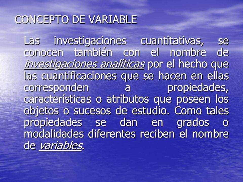 CONCEPTO DE VARIABLE Las investigaciones cuantitativas, se conocen también con el nombre de investigaciones analíticas por el hecho que las cuantifica