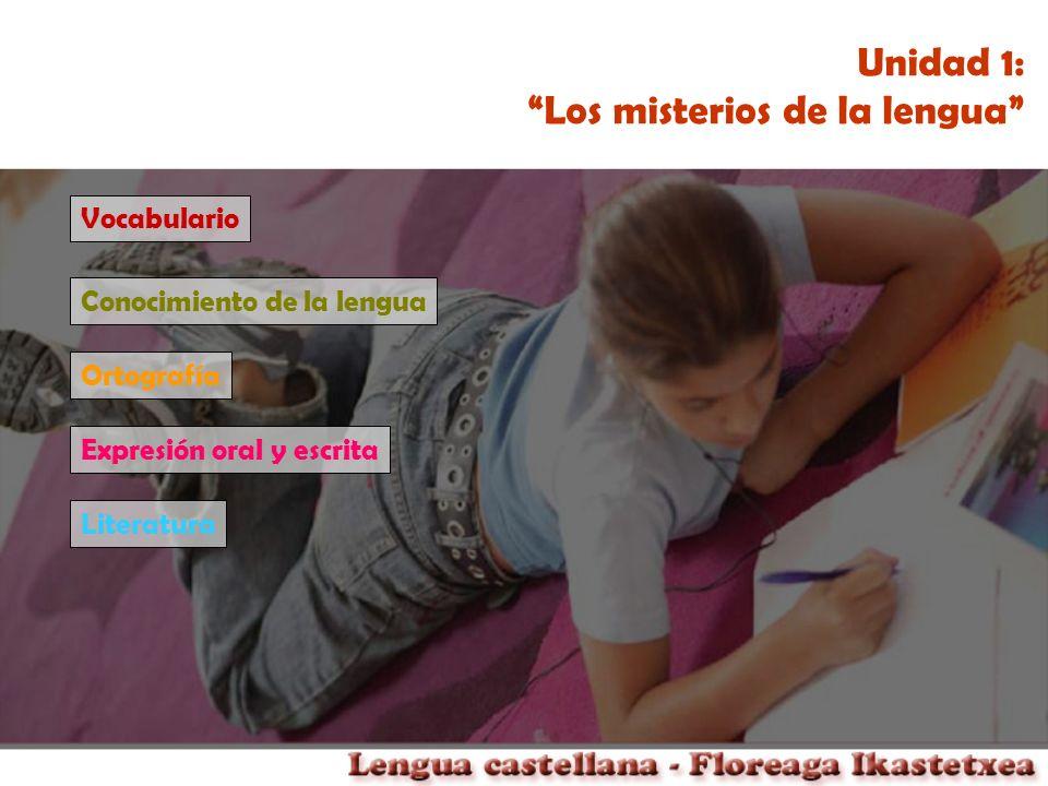 Unidad 1: Los misterios de la lengua Vocabulario Conocimiento de la lengua Ortografía Expresión oral y escrita Literatura