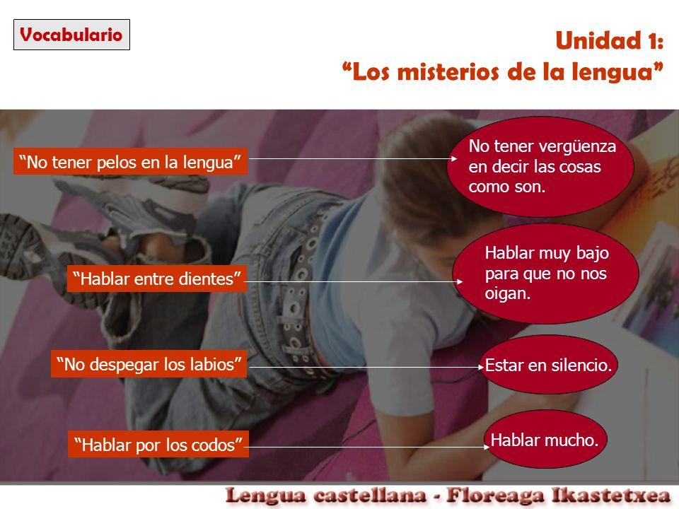 Conocimiento de la lengua Unidad 1: Los misterios de la lengua Lenguaje: capacidad de comunicarnos con palabras.